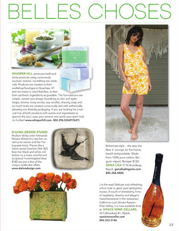 D'alma items featured  in HOOK magazine (page 23)